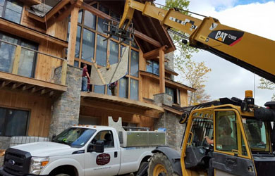 Loading countertop with a crane