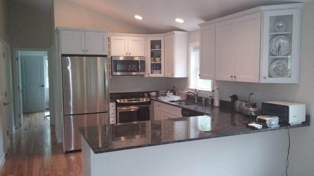 Stone Surface Cabinets and Steel Grey Granite