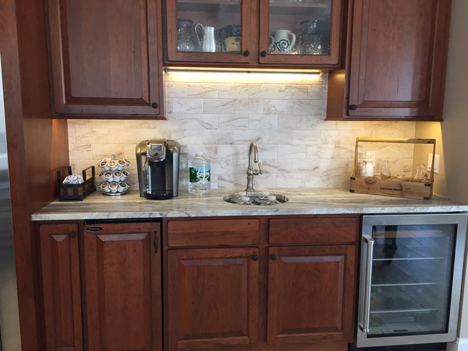 Cabinets and Leathered Fantasy Brown Granite