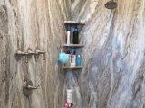 Leathered Fantasy Brown Granite Shower