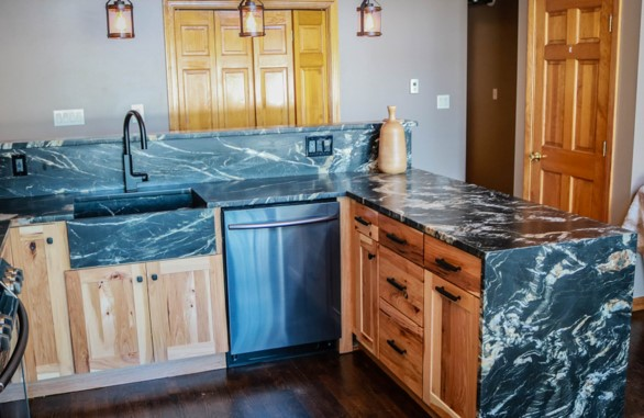 Granite Kitchen Stone Sink and Waterfall Panel 2